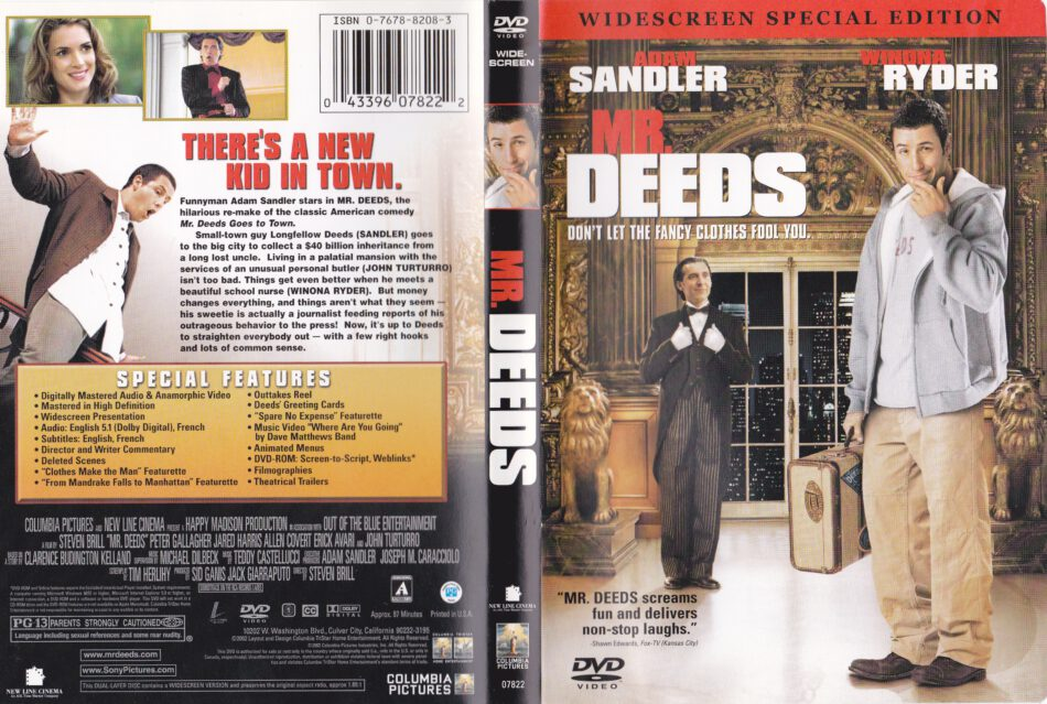 Mr Deeds 2002 R1 Movie Dvd Front Dvd Cover