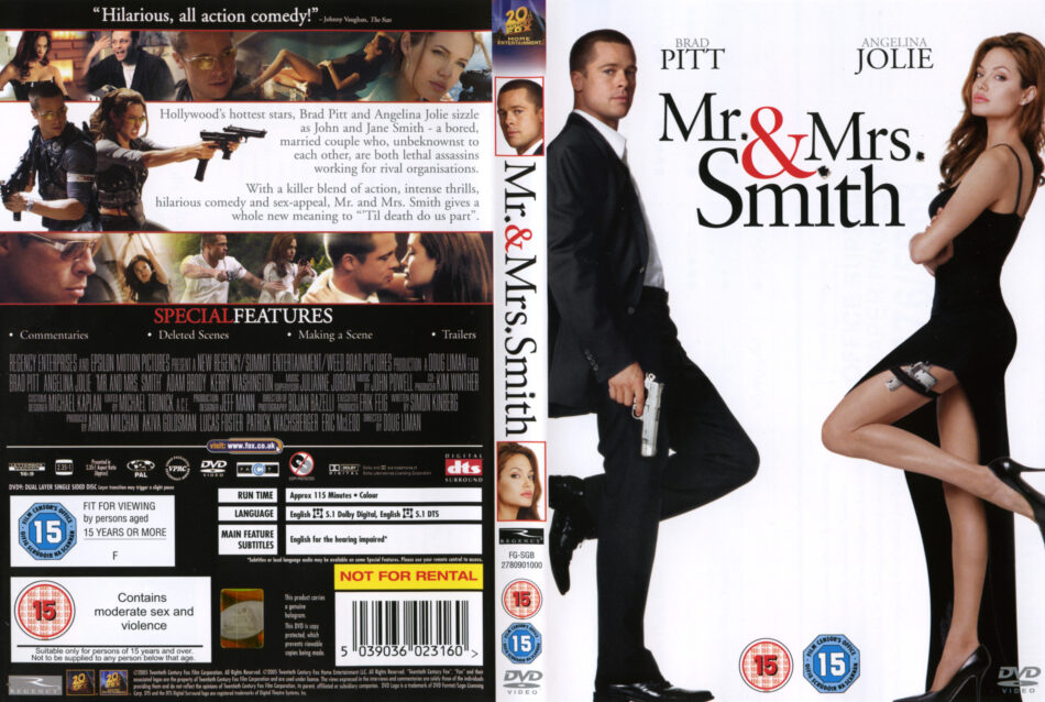 Mr Mrs Smith 2005 R2 Movie Dvd Cd Label Dvd Cover Front Cover
