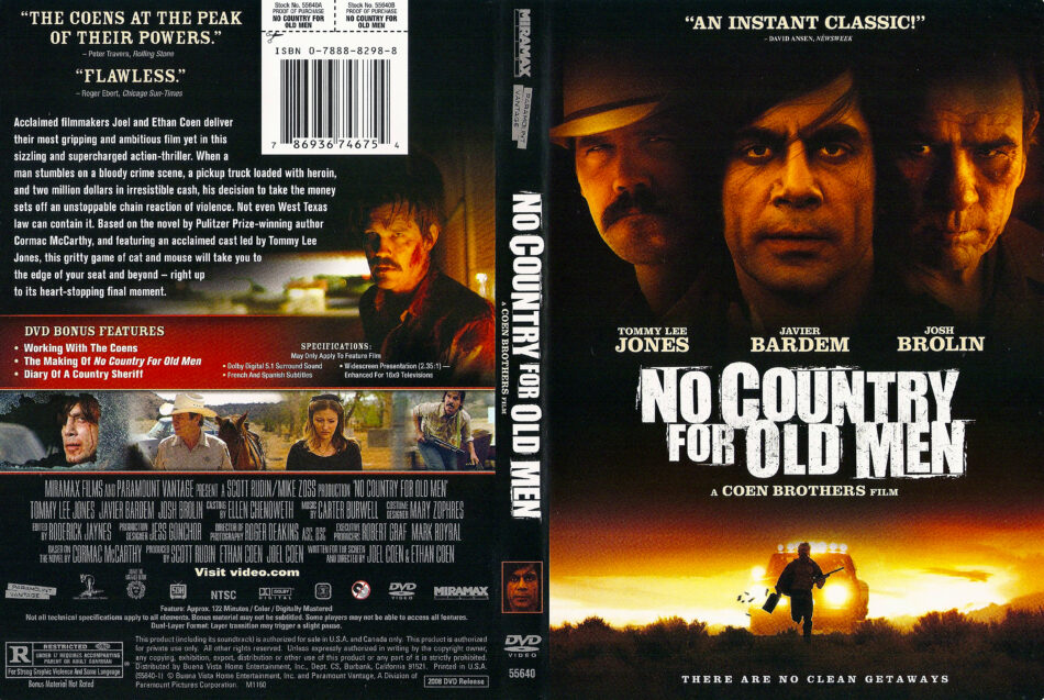 No Country For Old Men 2007 Ws R1 Movie Dvd Cd Label Dvd Cover Front Cover