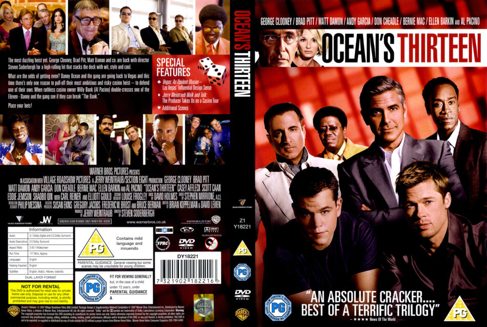 Ocean S Thirteen 2007 Ws R2 Movie Dvd Cd Label Dvd Cover Front Cover