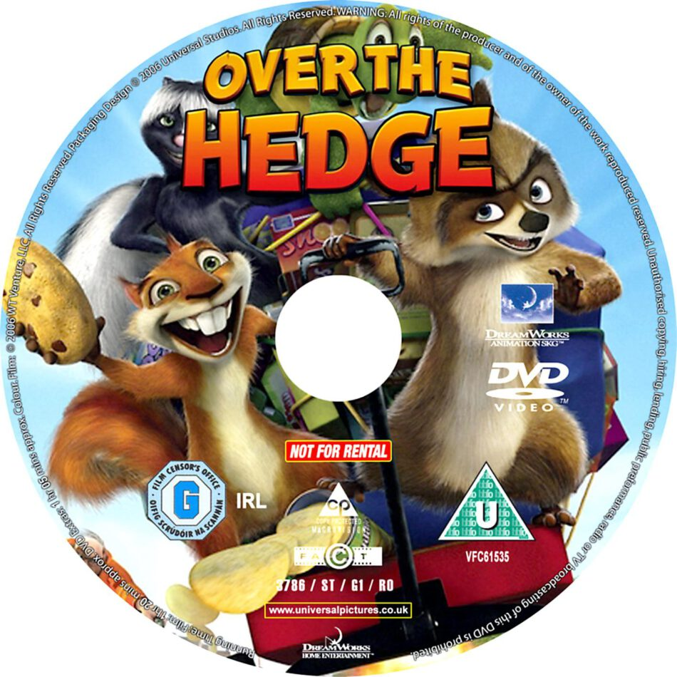 Over The Hedge 2006 R1 Cartoon Dvd Cd Label Dvd Cover Front Cover