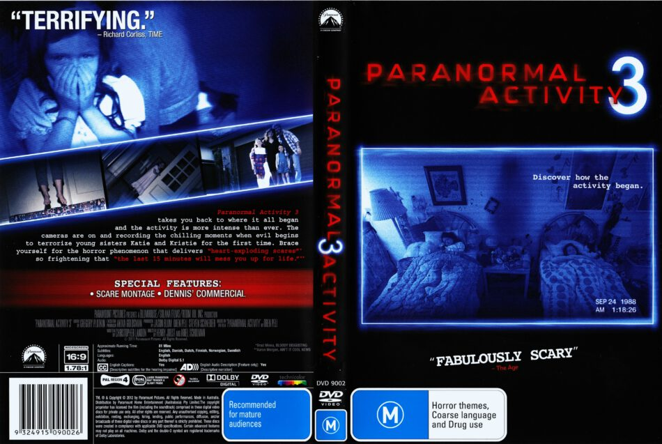 Paranormal Activity 3 2011 Ws R4 Movie Dvd Cd Cover Dvd Cover Front Cover