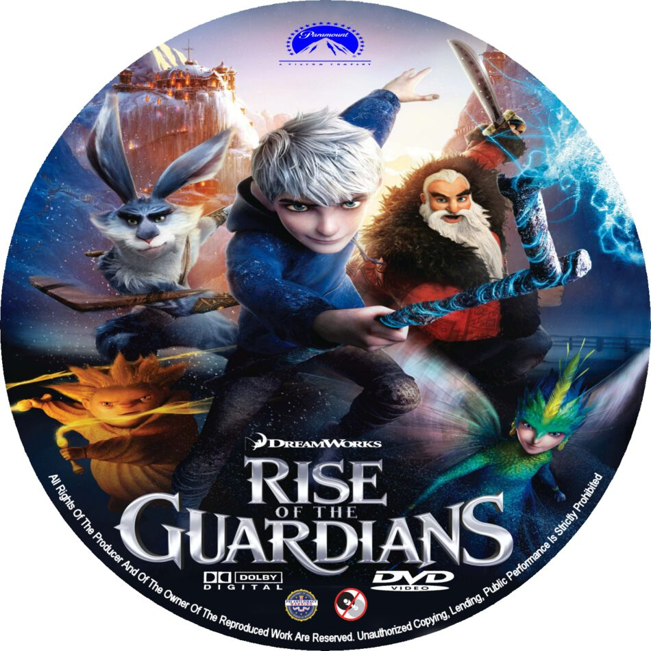 Rise Of The Guardians 2012 R0 Custom Dvd Blu Ray Labels