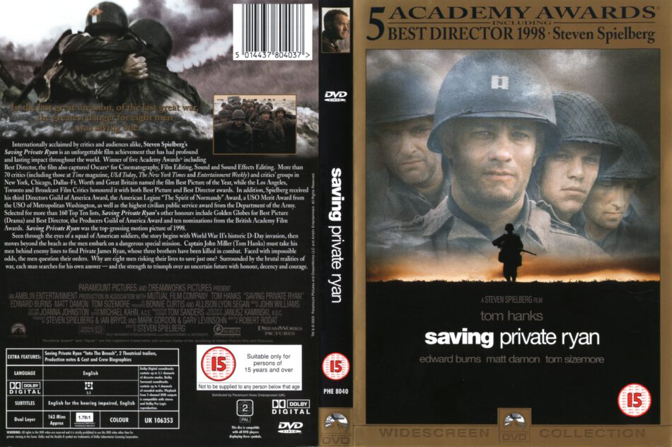 Saving Private Ryan 1998 Ws R2 Movie Dvd Cd Label Dvd Cover Front Cover