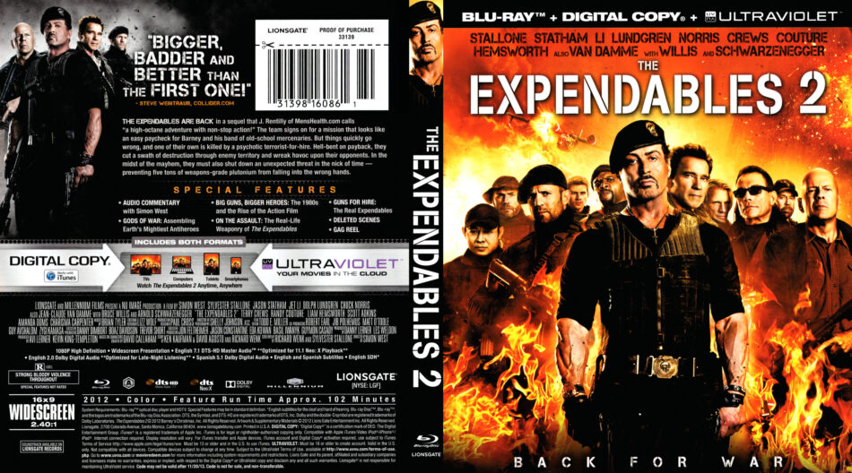 The Expendables 2 2012 Blu Ray Dvd Front Dvd Cover