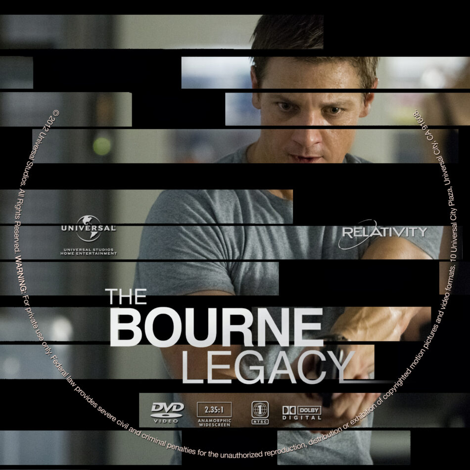 The Bourne Legacy 2012 R1 Movie Dvd Cd Label Dvd Cover Front Cover