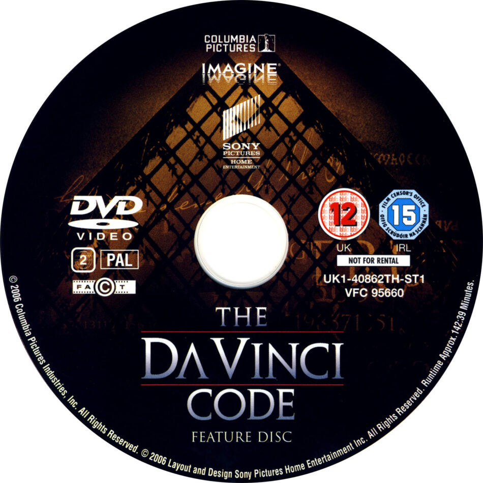 The Da Vinci Code 2006 R2 Movie Dvd Cd Label Dvd Cover Front C0ver