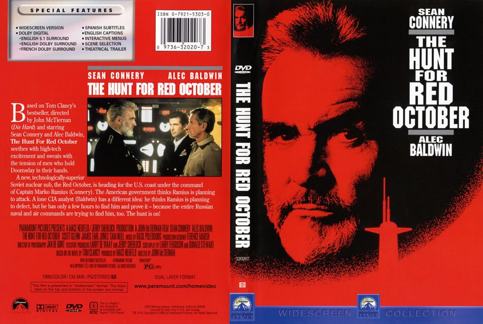 The Hunt For Red October 1990 Ws R1 Movie Dvd Cd Label Dvd Cover Front Cover