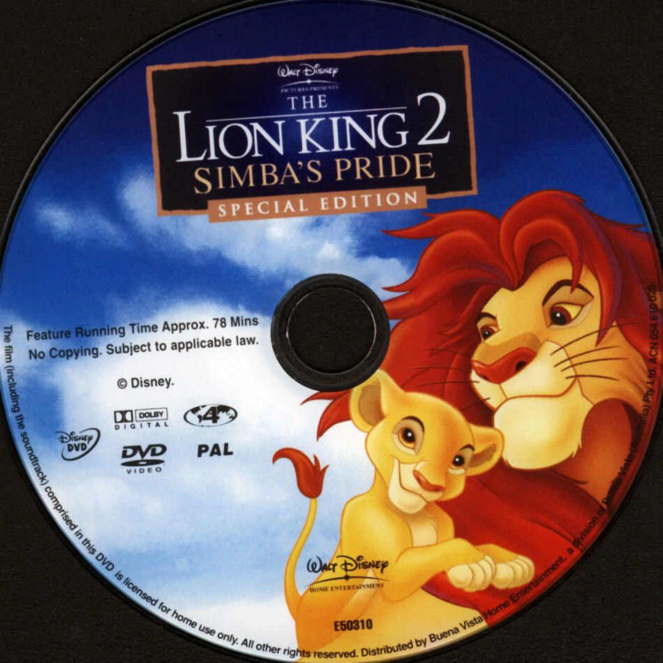 The Lion King 2 Simba S Pride 1998 Se R2 R4 Cartoon Dvd Cd Label Dvd Cover Front Cover