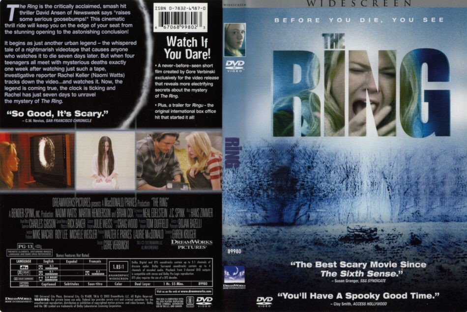 The Ring 2002 Ws R1 Movie Dvd Cd Label Dvd Cover Front Cover