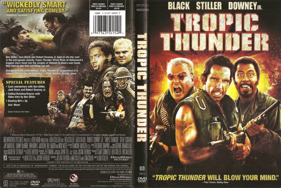 Tropic Thunder 2008 Ws R1 Movie Dvd Cd Label Dvd Cover Front Cover