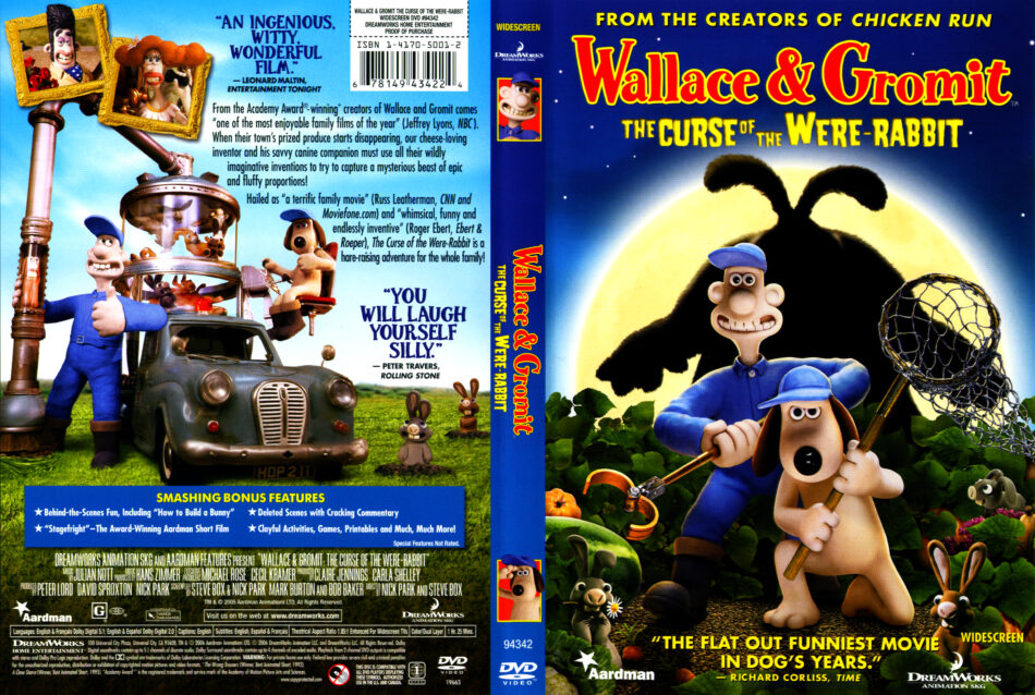 Wallace Gromit The Curse Of The Were Rabbit 2005 R1 Cartoon Dvd Cd Label Dvd Cover Front Cover