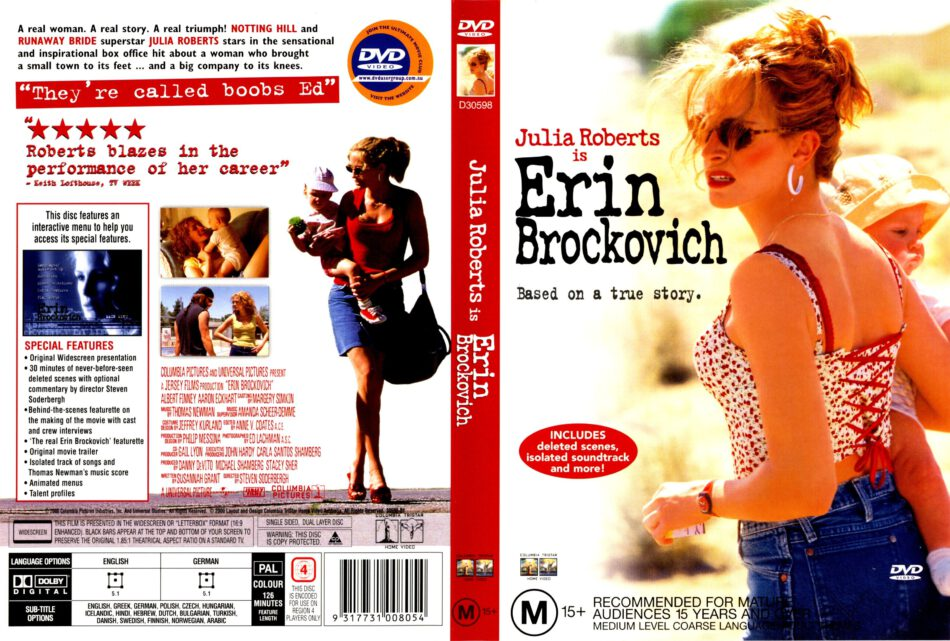Erin Brockovich 2000 Ws R4 Movie Dvd Cd Label Dvd Cover Front Cover