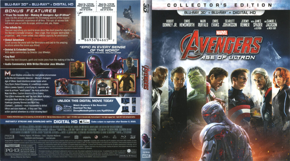 Avengers Age Of Ultron Blu Ray Dvd Cover Label 2015 R1