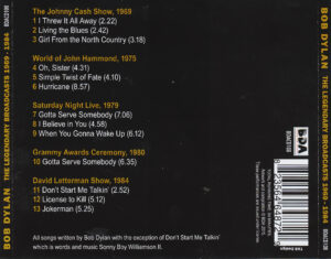 Bob Dylan - The Legendary Broadcasts 1969 - 1984 - Back