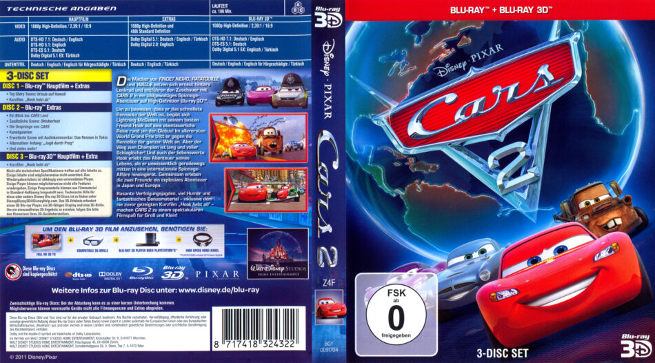 Cars 2 Blu Ray Dvd Cover 2011 R2 German