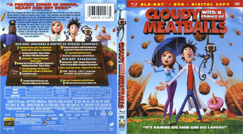 Cloudy With A Chance Of Meatballs Blu Ray Dvd Cover Label 2009 R1