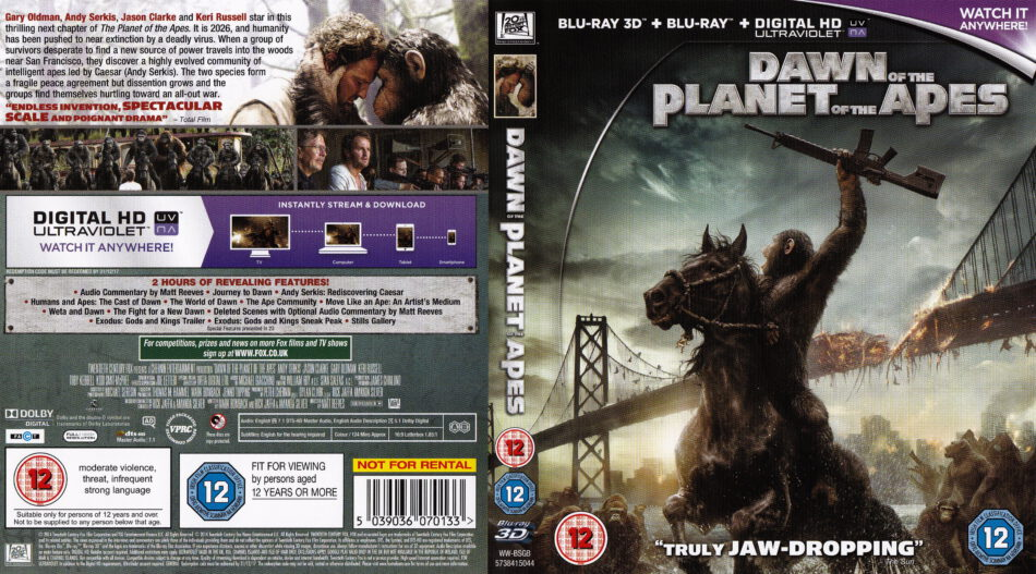 Dawn Of The Planet Of The Apes 3d Blu Ray Cover 2014 R2
