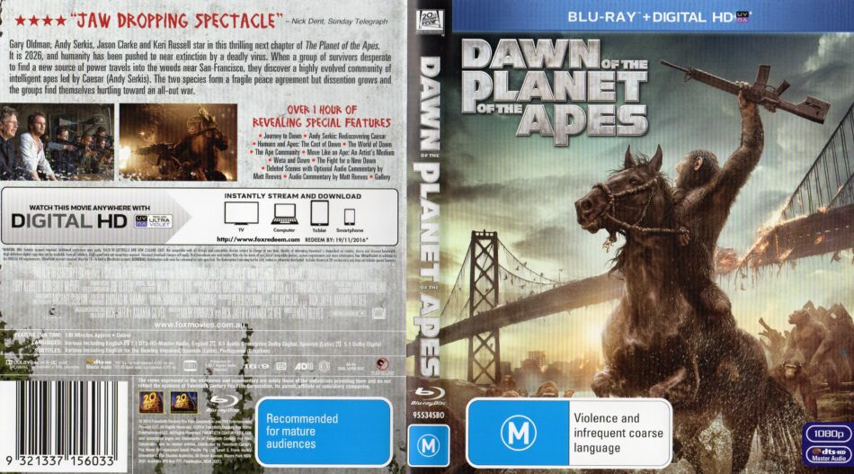 Dawn Of The Planet Of The Apes blu-ray cover (2014)