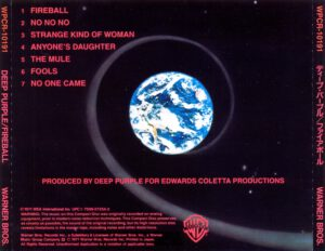 Deep Purple - Fireball (Japan) - Back