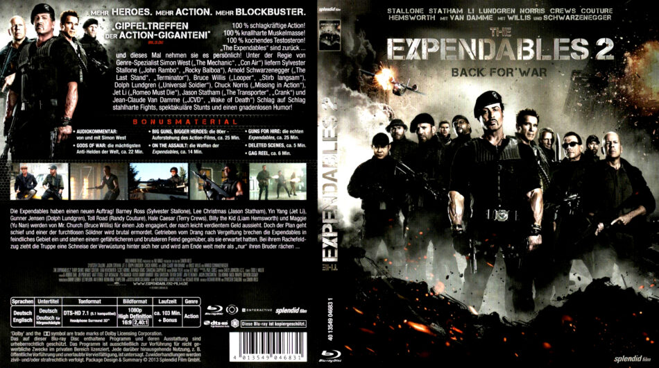 The Expendables 2 Blu Ray Dvd Covers 2012 R2 German