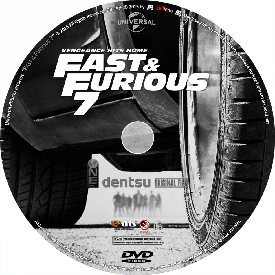 fast and furious 7 dvd label  2015  r0 custom art