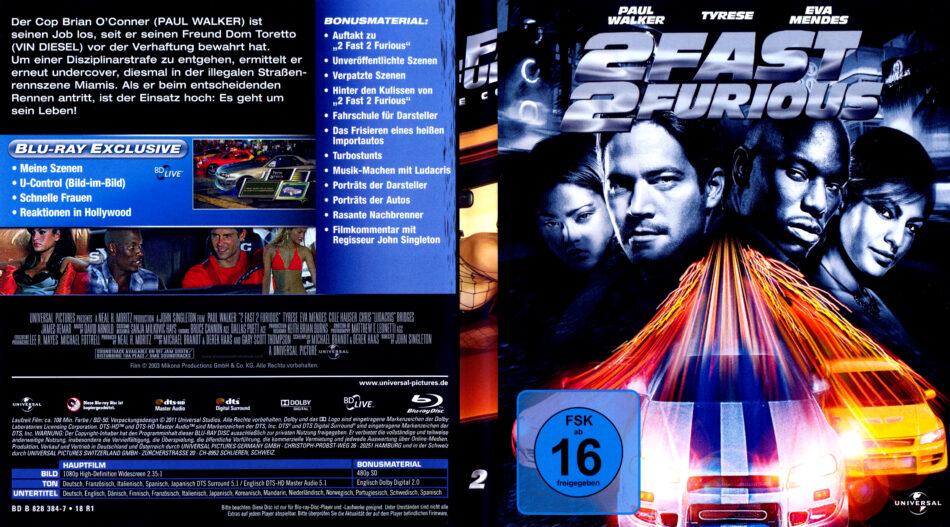 2 Fast 2 Furious Blu Ray Dvd Cover 2003 R2 German