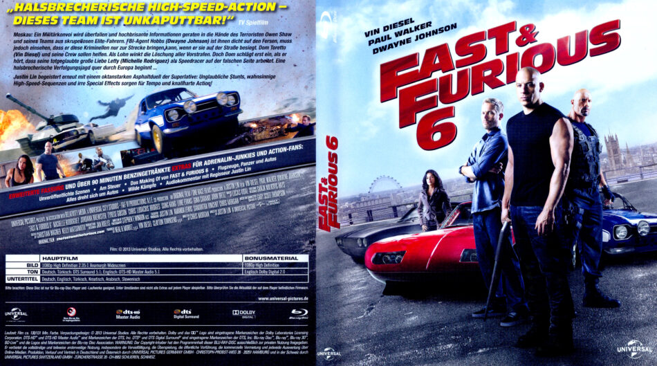The Fast And The Furious 6 Blu Ray Dvd Cover 2013 R2 German