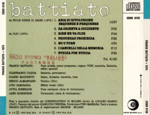 Franco Battiato - 1974 (taken from Sulle Corde Di Aries & Clic) - Back