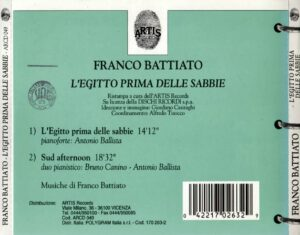 Franco Battiato - L'Egitto Prima Delle Sabbie - Back