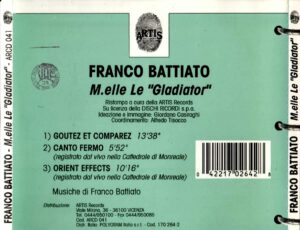 Franco Battiato - M.elle Le Gladiator - Back