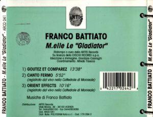Franco Battiato - M.elle Le Gladiator - Back