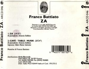 Franco Battiato - ZA - Back