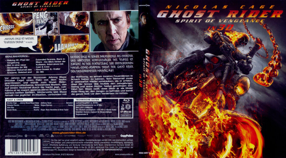 Ghost Rider: Spirit of Vengeance blu-ray dvd cover (2012) german