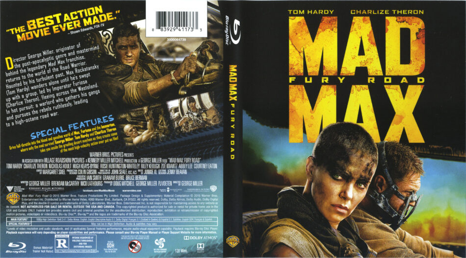 Mad Max Fury Road Blu Ray Dvd Cover Label 2015 R1
