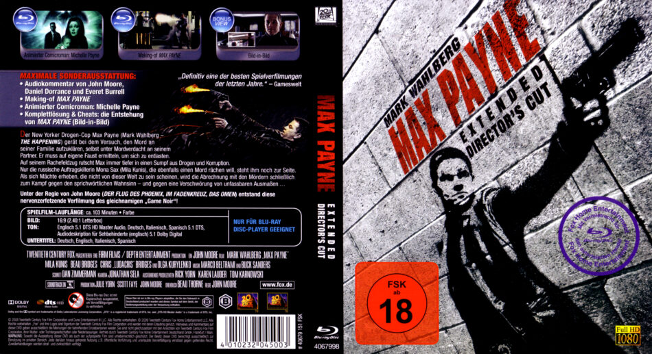 Max Payne Blu Ray Dvd Cover 2008 German