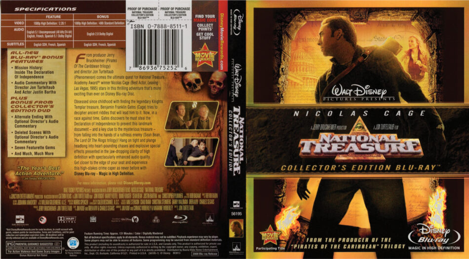 National Treasure Blu Ray Dvd Cover 2004