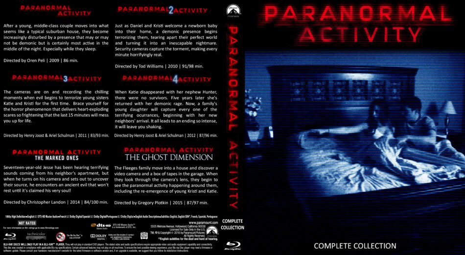 Paranormal Activity Complete Collection Blu-Ray cover (2015) Custom