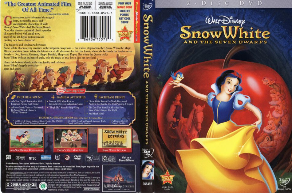 Snow White And The Seven Dwarfs Dvd Cover 1937 R1
