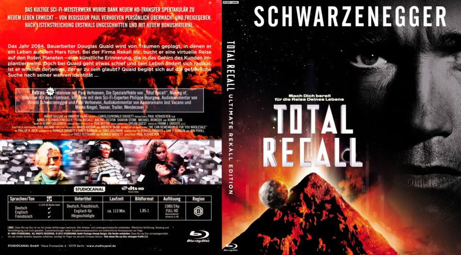 Total Recall Blu Ray Dvd Cover Label 1990