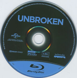 Unbroken blu-ray dvd label