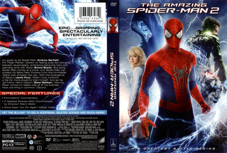 Amazing Spider-Man 2 front dvd cover