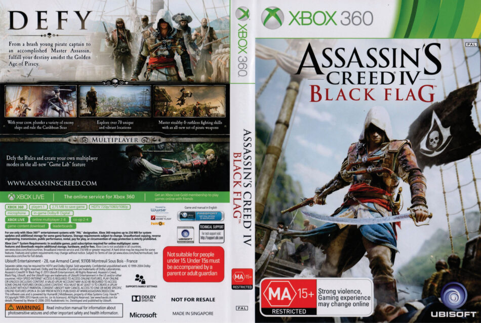 Assassins Creed Iv Black Flag Xbox 360 Dvd Cover 2013 Pal