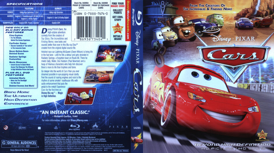 Cars Blu Ray Dvd Cover 2006