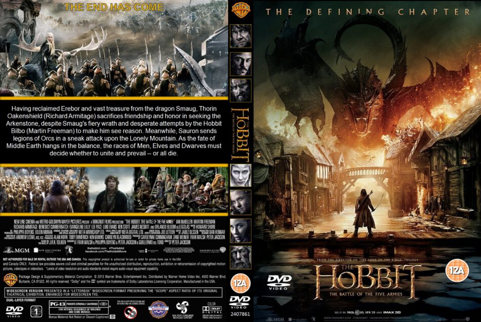 The Hobbit The Battle Of The Five Armies Dvd Covers 2014 R2 Custom Art