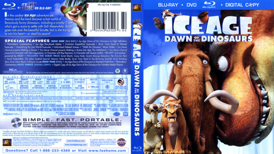 Ice Age Dawn Of The Dinosaurs Blu Ray Dvd Cover 2009
