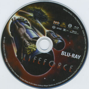 Lifeforce blu-ray dvd label