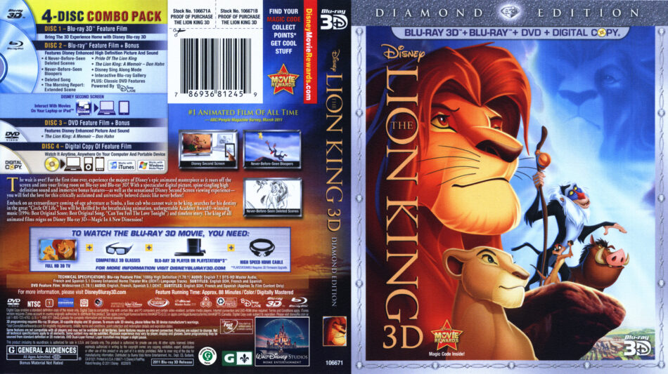 The Lion King 3D Blu-Ray DVD cover