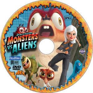 Monsters vs. Aliens dvd label