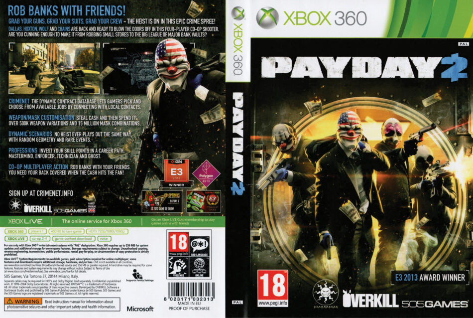 Payday 2 dvd cover